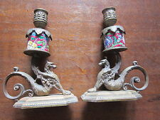 """Antique PAIR 19th C. FRENCH BRONZE MYTHICAL """"GRIFFIN"""" CANDLE HOLDERS"""