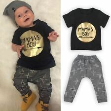 Baby Toddler Infant Mamas Boy T-shirt Tops+Pants Trousers Suit Outfits Clothes