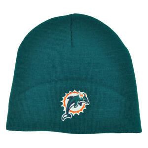 NFL Miami Dolphins Cuffless Knit Beanie Toque Winter Sport Turquoise Skully Hat
