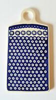 Boleslawiec Polish Pottery Cutting Board Trivet Blue Circles Ceramic EUC