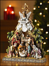 Christmas Nativity Scene Angel With Baby Jesus Christ Holy Family Virgin Mary