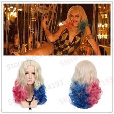 Batman Suicide Squad Harley Quinn Pink Blue Gradient Hair Halloween Cosplay Wig