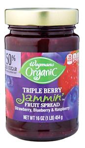 Wegmans Organic Triple Berry Jammin' Fruit Spread Jam, 16 ounce Jar