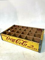 Vintage Mid Century Iowa Coca Cola Yellow Red Wooden Crate Case Coke Carrier
