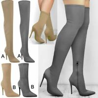 Womens Ladies Thigh High Over The Knee Lycra Ankle Boots Stiletto Heels Shoes
