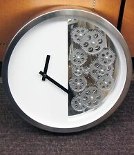 METAL CONTEMPORARY WALL CLOCK 15 1/4 DIAMETER WHITE  WITH 12 MOVING GEARS 42829