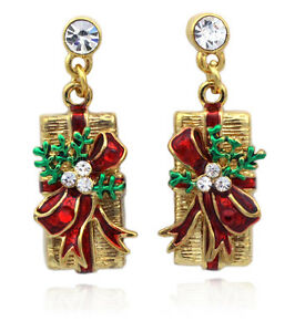 Christmas Gift Box Red Bow Ribbon Charm Stud Post Earrings Jewelry Holiday Gift