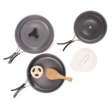 9 Pcs Outdoor Camping Cookware Cooking Picnic Spoon Bowl Pot Pan Kit
