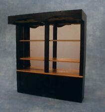 1:12 Scale Mirrored Black Wooden Bar Shelf Unit Tumdee Dolls House Pub Furniture