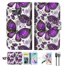 Purple Butterfly Wallet Case Cover For Samsung Galaxy Trend Plus-- A017