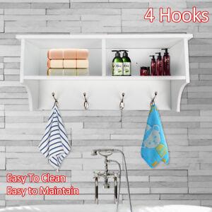 2 Grids 4 Hooks Hallway Tidy Wall Coat Rack Bag Hanger Hall Storage Shelf White