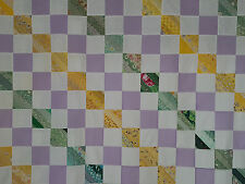 Unfinished Quilt Top- Green, Lavender and Yellow Diagonal Blocks, approx 90x98