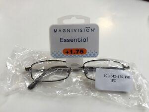 MAGNIVISION ESSENTIAL READING GLASSES +1.75 KARRAH DESIGN FRAME