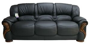 Susanna 3 Seater Italian Black Leather Sofa Settee Couch Contemporary