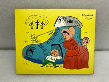Vintage Playskool Wood Puzzle Old Woman in the Shoe 12 Pieces Complete 185-6