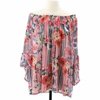 Melissa Paige Womens Off Shoulder Top Red Floral Bell Sleeve Plus 2X New