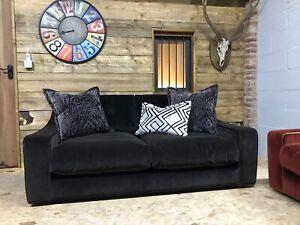 NEW Alexander James Ginger 2 str brown grey velvet sofa retro mid century danish