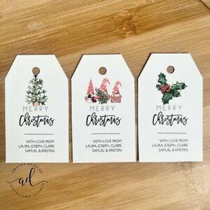 10 Personalised Merry Christmas Gift Tags Xmas Custom Santa Tags Thank you tag