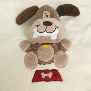 Blankets & Beyond Lovey  Brown Puppy Dog Red Dish Bone Security Blanket 18x24""
