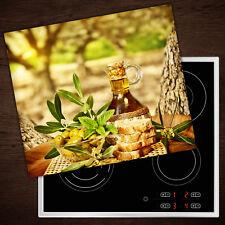 Herdabdeckplatten aus Glas Spritzschutz Olivenöl Brot - 60x52 cm