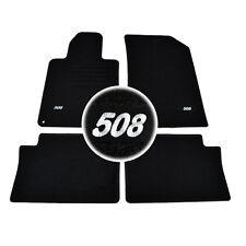 4 TAPIS SOL PEUGEOT 508 & 508 SW & RXH TOUS MOQUETTE LOGO BLANC SPECIFIQUE