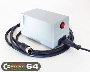 Commodore 64 Power Supply - C64 PSU,  (UK 230VAC plug), GRAY, LED, Power Switch