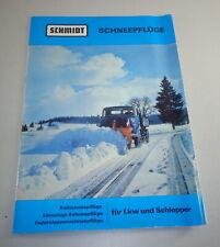 Prospekt / Broschüre Schmidt Schneepflüge Typ k / e / f / l von 11/1968