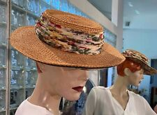 Vtg Ladies Ann with an E Church Hat Alfreda New York Paris Natural Straw Floral