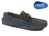 Mens Grey Suede Loafers Comfort Slip On Moccasin Smart Casual Driving Shoes