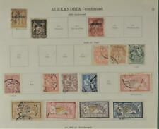 ALEXANDRIA FRENCH  STAMPS SELECTION ON 2 ALBUM PAGES  (K42)