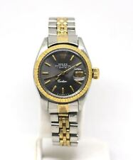 Rolex Oyster Perpetual Date Cartier Watch Model 6917 Stainless Steel 14KT Gold