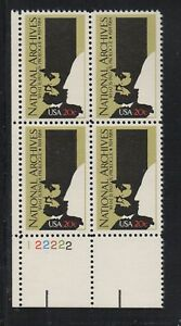 ALLY'S STAMPS US Plate Block Scott #2081 20c National Archives [4] MNH [STK]