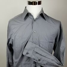 Calvin Klein Mens Button Down Long Sleeve Dress Shirt Gray 15.5 34/35