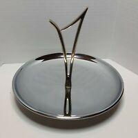 "Vintage Kromex Serving Tray Polished Chrome Plate Round Gold Handle MCM 8"" DECO"