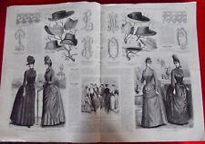Ancienne Revue la mode illustrée n°12 1888 Robe en soie et chapeau dentelle
