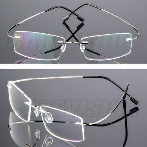 Flexible Memory Titanium Alloy Rimless Eyeglasses Frame Clear Spectacles Eyewear