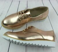 WOMENS ROSE GOLD FLAT SHOES GIRLS LACE UP SMART OFFICE BROGUE SHOES SIZE UK 3-8