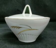 BOHEMIAN FINE CHINA WHEATFIELD GOLD TRIMMED SUGAR BOWL WITH LID