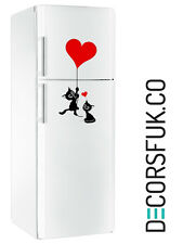 Cats Heart fridge sticker black & red - art decor/ wall decor/ kitchen sticker