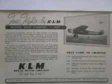 7/1947 PUB KLM ROYAL DUTCH AIRLINES AMSTERDAM FOKKER F.VIII ORIGINAL AD