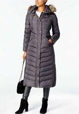 Michael Kors Long Puffer Hood Faux Fur Trim Down, Gunmetal - Size XS