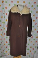 Vintage FUR COLLAR  Chic brown  WOOL  DRESS  COAT WOMENS medium  CHIC STYLE