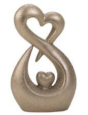 Moderne Herz Skulptur Dekofigur aus Keramik mit Perlenstruktur in silber Höhe 26
