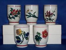 Vintage Kutani Japanese Ceramic Floral Print Tea Cups  Five  Made in Japan  NIB