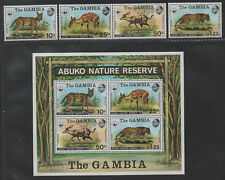$Gambia Sc#341-344, 344a M/NH/VF, complete set, Animals WWF, Cv. $135.50