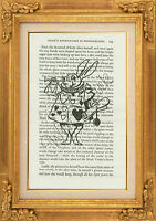 "ORIGINAL-White Rabbit Printed on ""Alice in Wonderland"" Book Page - Art Print"