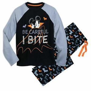 "Disney Store Halloween Mickey Mouse PJs ""Be Careful I Might Bite"" Men's Pajama L"