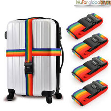 4X Travel Luggage Suitcase PASSWORD Secure LOCK Durable Nylon Packing Strap Belt
