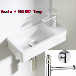 UK White Compact Small Cloakroom Wash Basin Sink Ceramic 370 x 185 mm With Waste