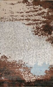 Vegetable Dye Abstract Oriental Area Rug Hand-knotted Modern Wool/ Silk 6x10 ft